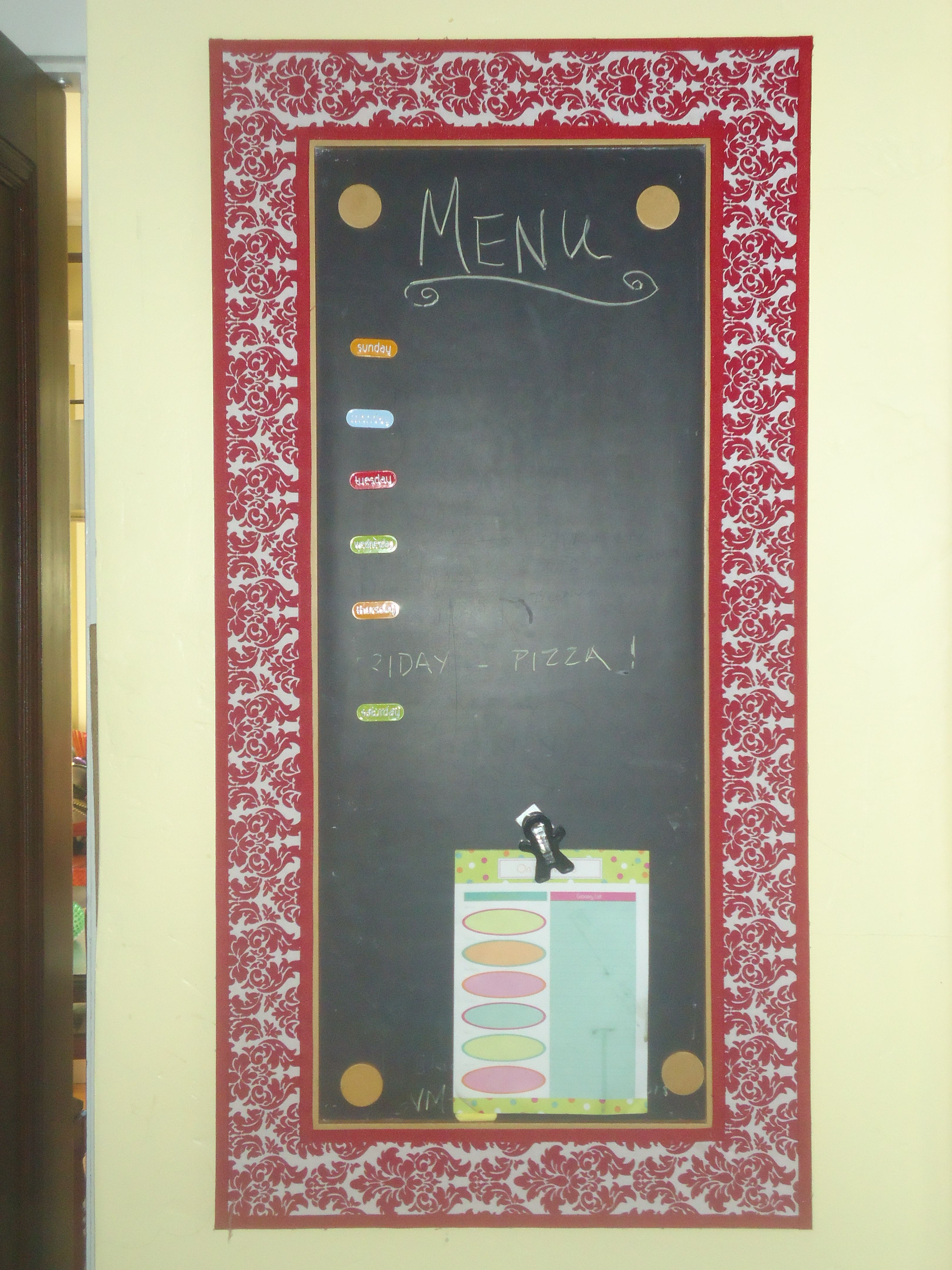 Jazz Up That Corkchalkboard With Fabric & Ribbon, Now A