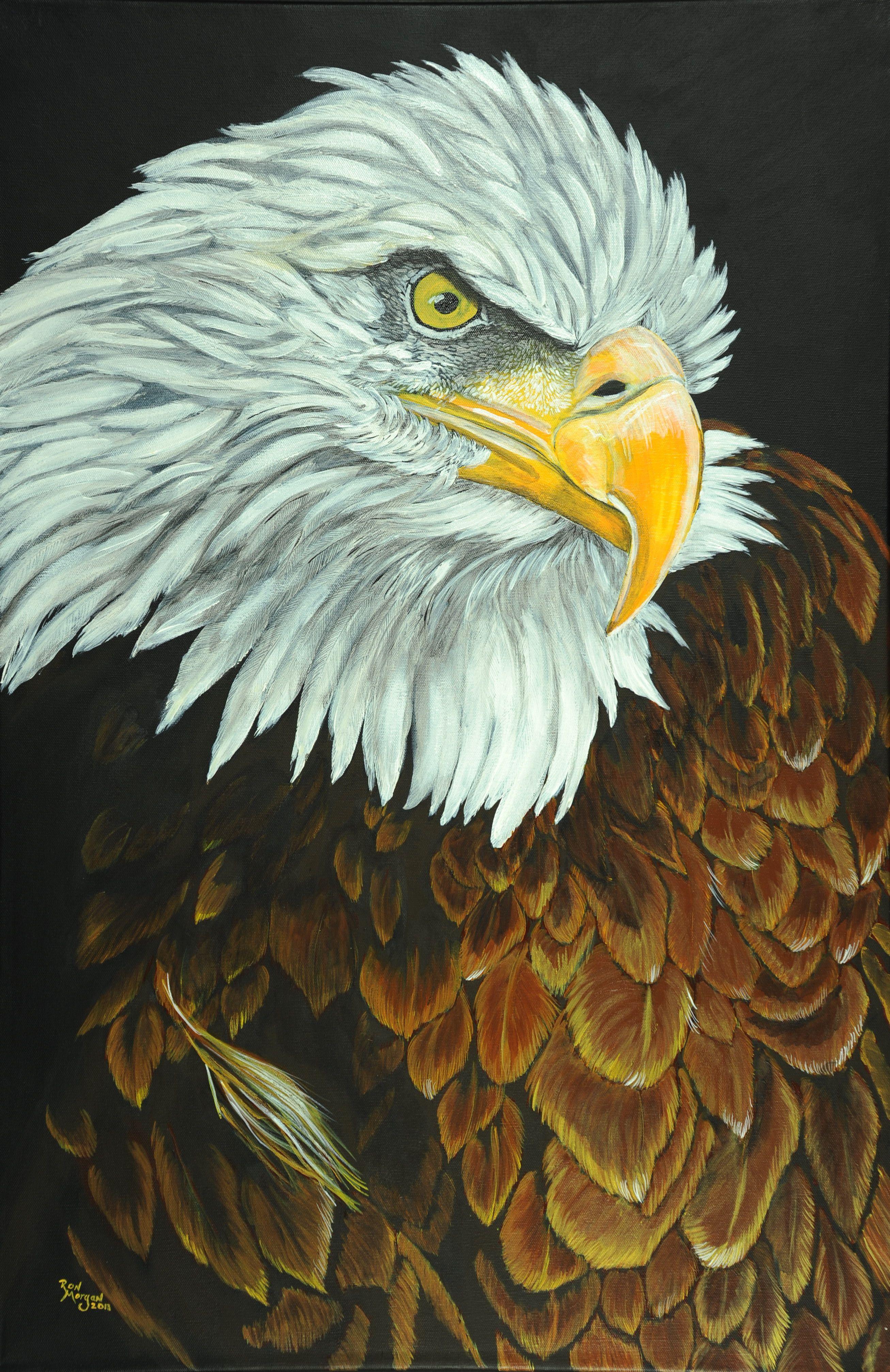 """Eagle With Attitude"" 24"" x 36"" acrylic on canvas. Eagle"