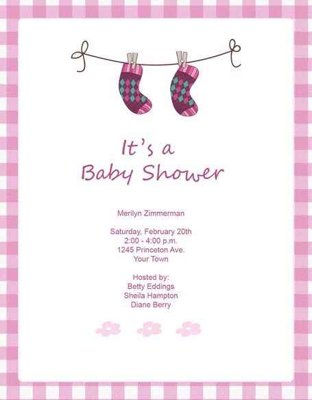 Baby Shower Invitations Cute Pink Socks Baby Shower Invitation - baby shower invitations free templates online