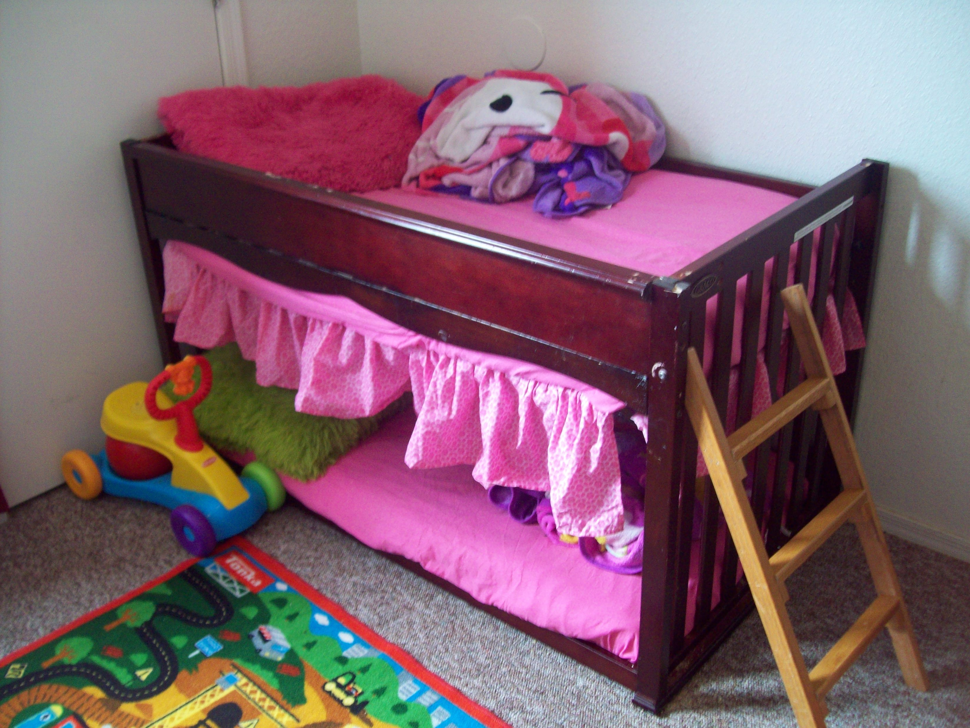 this is a upside down crib turned into a toddler bunk bed clever