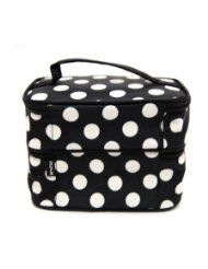 DuaFire Cosmetic Bag Double Layer Dot Pattern Travel Toiletry Bag Organizer With Mirror (Black) @ glamorouscosmeticsonline.com