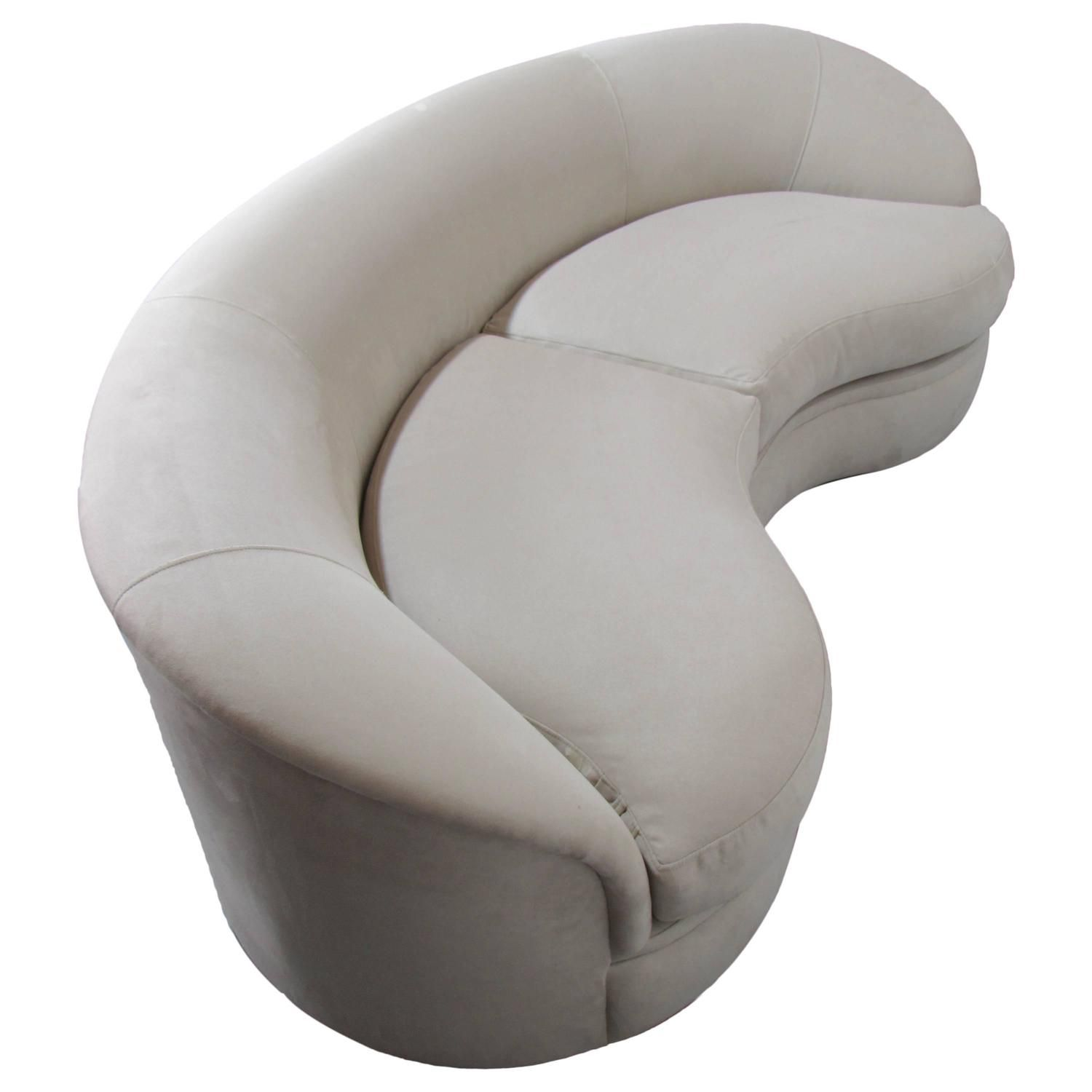 Beau Biomorphic Kidney Bean Shaped Sofa By Vladimir Kagan For Directional, 1970s  | See More Antique