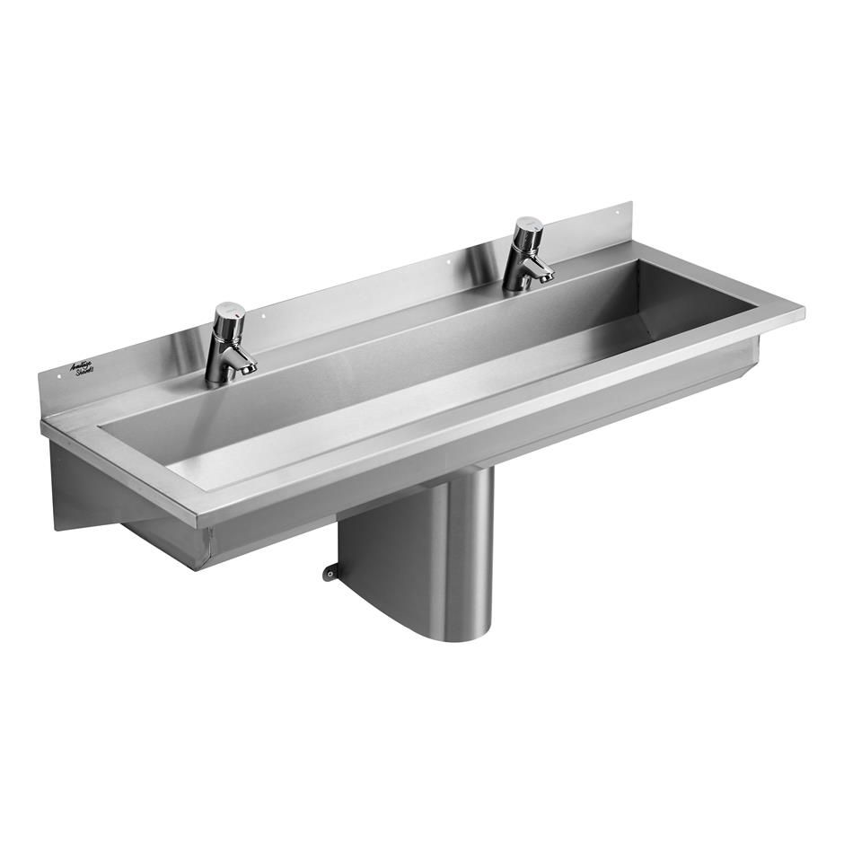 S2824 Calder Stainless Steel Washing Trough 120cm Long 2 Taphole