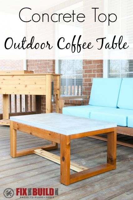 Diy Concrete Top Outdoor Coffee Table Project Plans Free