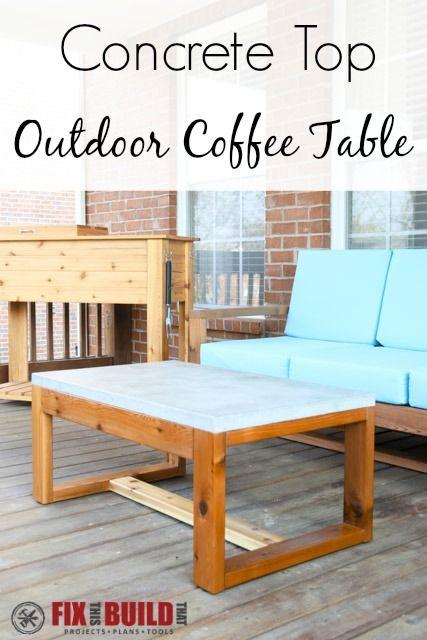 diy concrete top outdoor coffee table project plans free rh pinterest com
