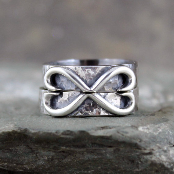 Julia S Infinity Heart Wedding Bands His And Hers Matching Sterling Silver Rustic Friendship Rings Joined Hearts Made In Canada On