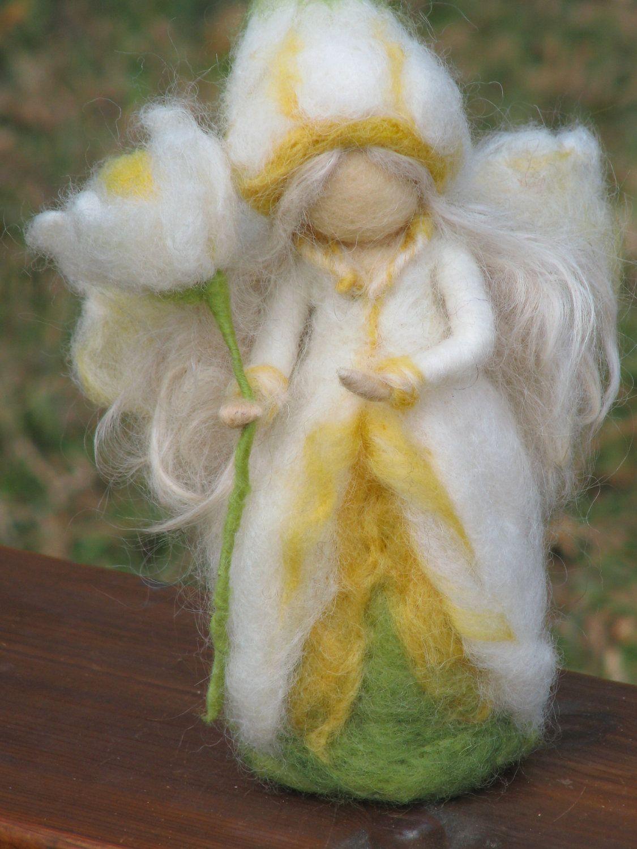 Flower Fairy narcissus needle felted doll waldorf door Made4uByMagic