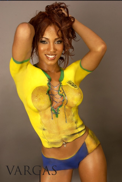 paint body Brazil soccer