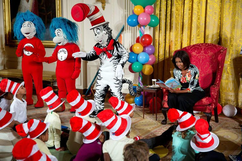 Obama hosts local students for a special reading of Dr. Seuss's Oh, the Things You Can Do That Are Good for You: All About Staying Healthy, during a Let's Move! event in the East Room of the White House on Jan. 21, 2015.