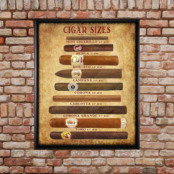 Cigar Size Chart Cigar Poster Tobacco Print Man Cave Wall Art Home Decor Fathers Day Vi174 Man Cave Wall Art Cigar Art Man Cave Wall