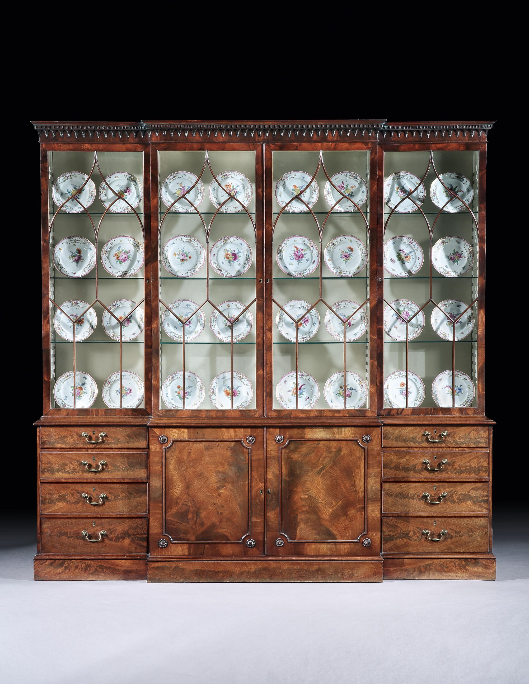 Thomas Chippendale A George III Mahogany Breakfront Bookcase