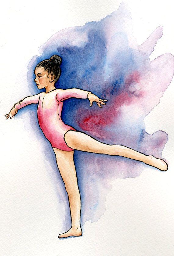 Gymnastics Art Original Watercolor Mini Painting Young