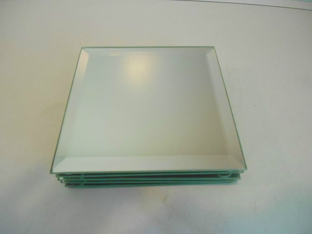 Decorative Beveled Square Mirror Plate Set of 5 5-Inch Mirror Display plates : square mirror plates - pezcame.com