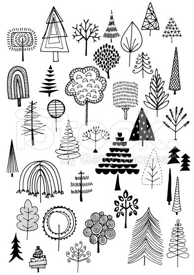 Hand drawn vector doodle trees, quirky and fun nature and Christmas ...
