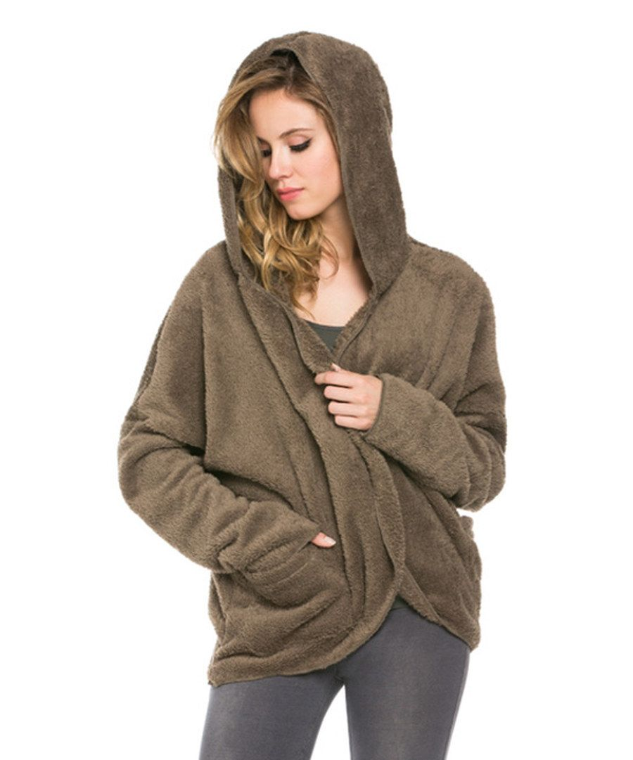 Look at this ODDI Olive Fuzzy Hooded Cardigan on #zulily today ...