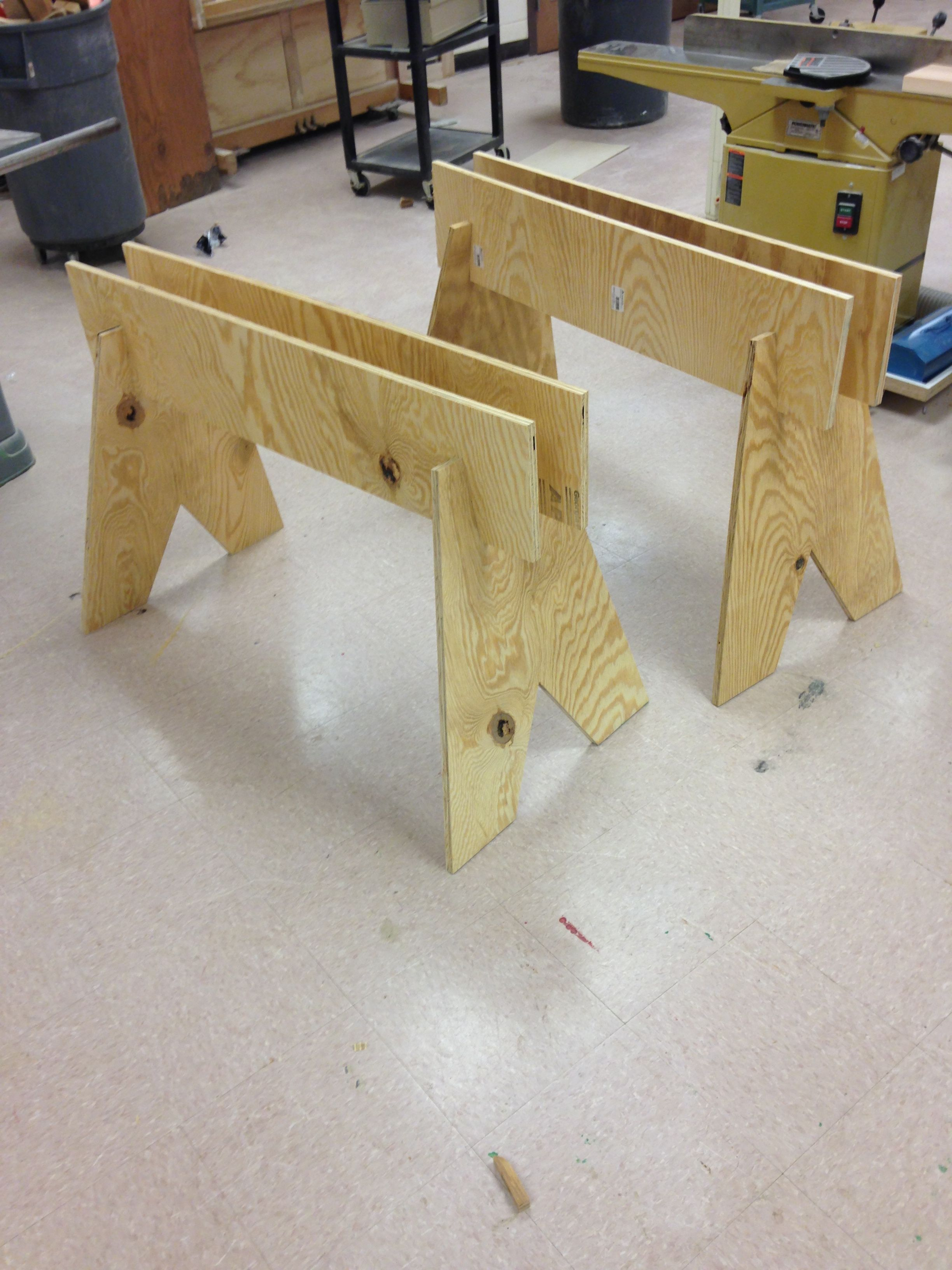 Saw Horses Made From One Sheet Of Plywood They Fold Flat And Are Very Sturdy Plywood Sheets Sawhorse Plywood