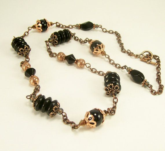 Black Gemstone Glass and Copper Long Beaded by BobblesByCarol