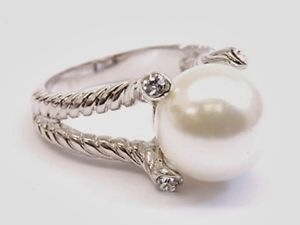 Cable Rope Pearl  Clear Cubic Zirconia  White Gold Silver Rhodium Cocktail Ring Plus Size 9  USA Seller