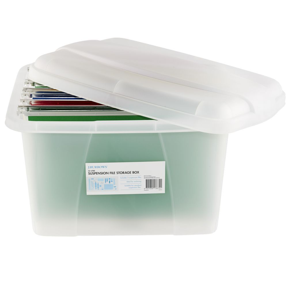 J Burrows Porta Box and 5 Suspension Files Clear | Officeworks. | Study | Pinterest | Storage boxes Filing and Plastic storage containers  sc 1 st  Pinterest & J Burrows Porta Box and 5 Suspension Files Clear | Officeworks ...