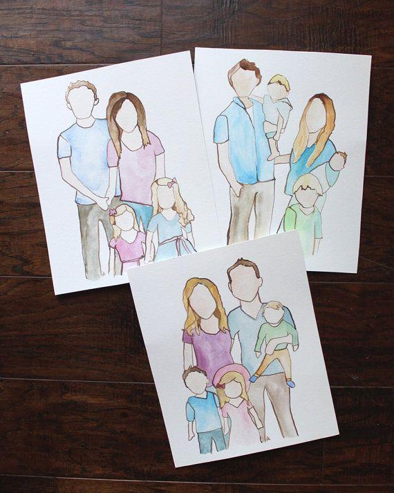 Custom Watercolor Family Portrait Family Drawing Custom