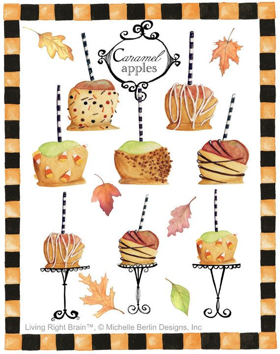 Au Caramel Apples Clipart Watercolor Etsy Caramel Apples Pumpkin Birthday Cakes Holiday Inspiration