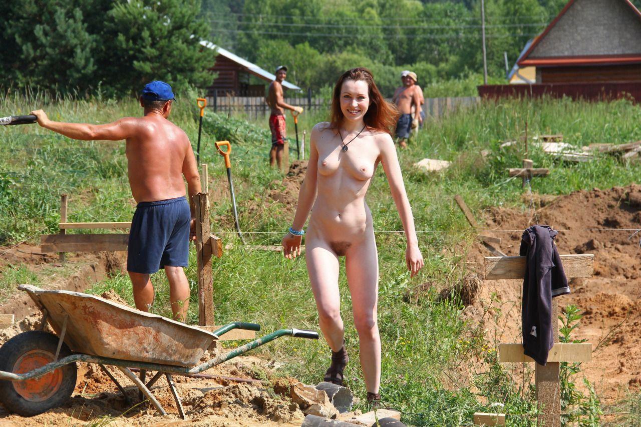 Nude girl yard work idea similar