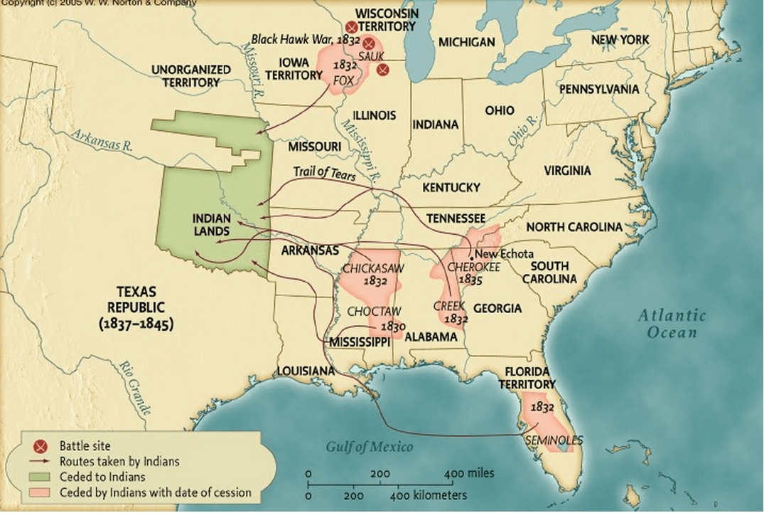 Native American Removal Map. | Trail of tears, Seminole ...