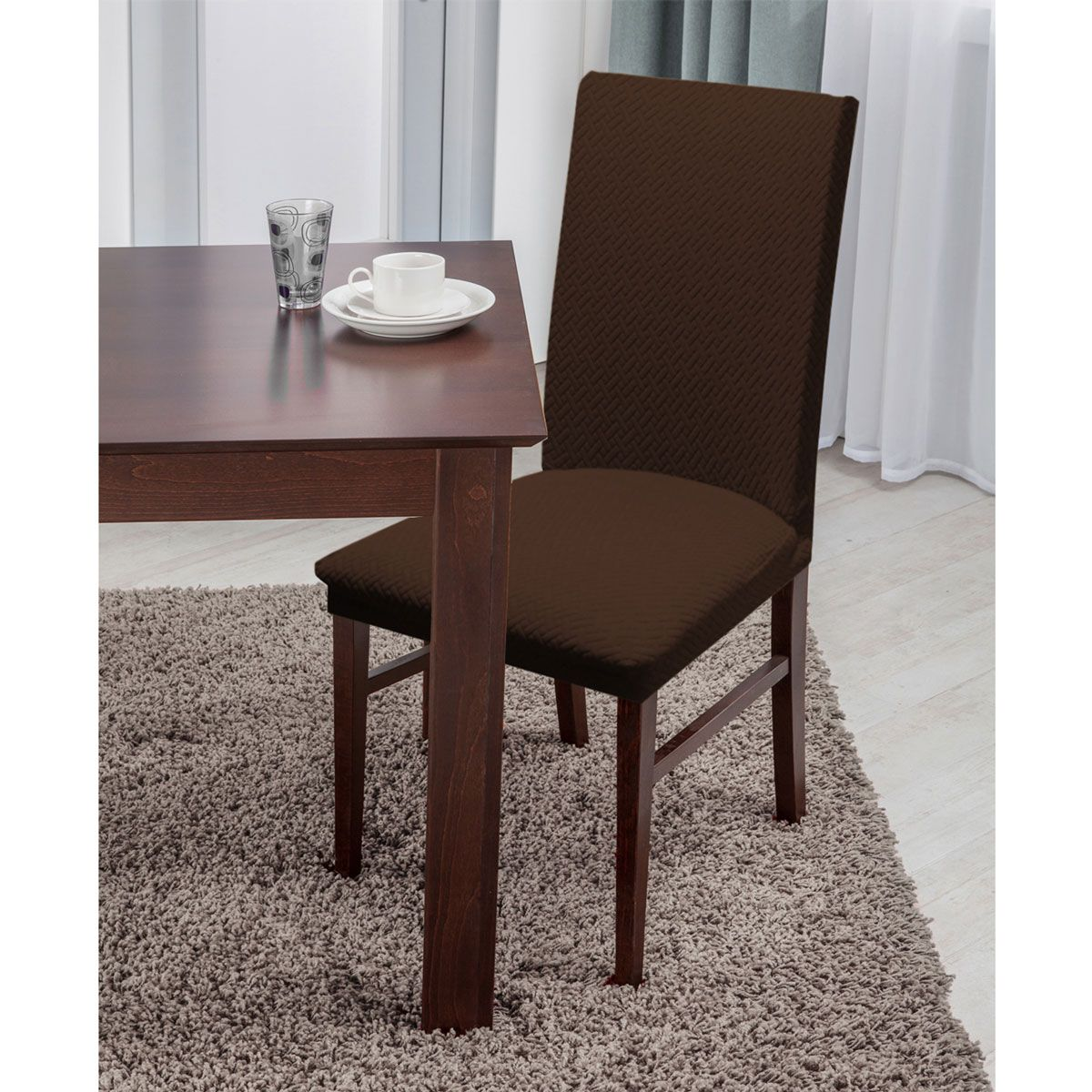 Basket Weave Texture Dining Chair Cover Stretch Form Fitting Brilliant Fabric Chair Covers For Dining Room Chairs Inspiration