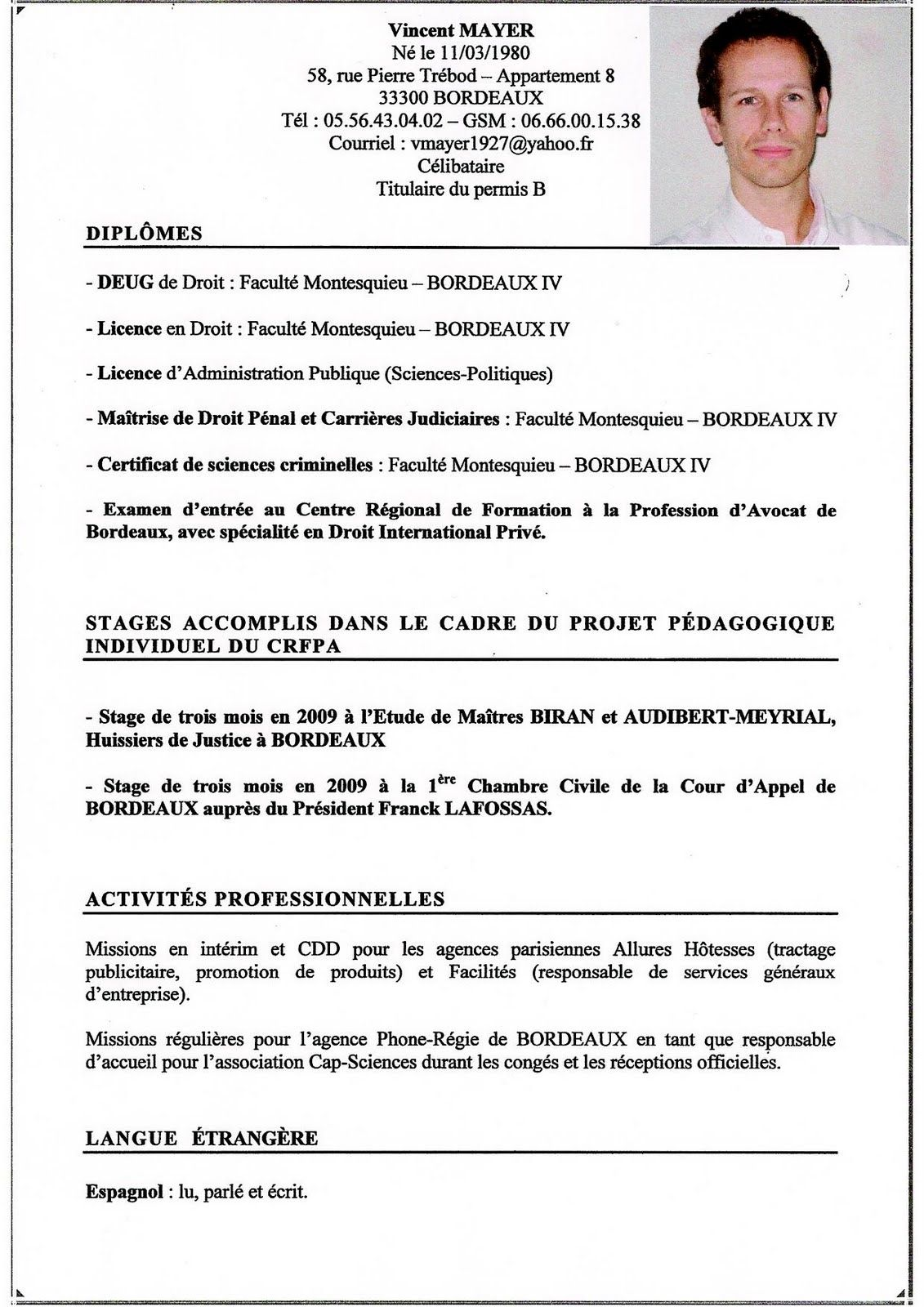 modele cv avocat