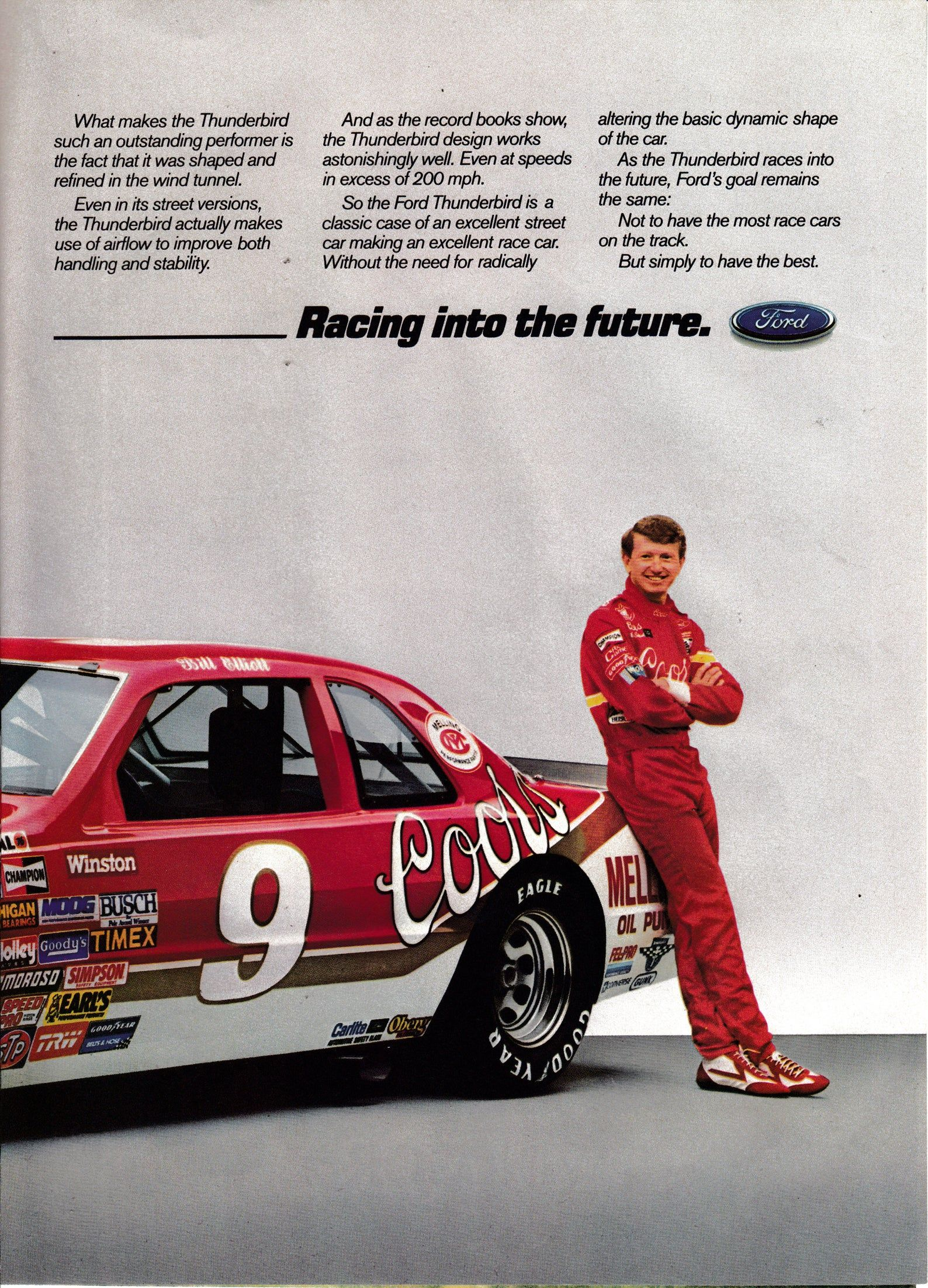 1987 Bill Elliot Ford Daytona Winner Thunderbird Original 2 Page Magazine Ad Taurus Ford Racing Gemini Girl