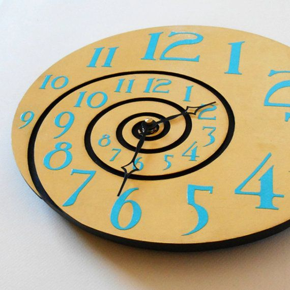 Wood Wall Clock Yellow Black & Turqoise Spiral by TwistedSpiral, $55.00