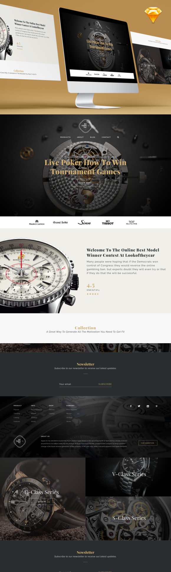 Luxury Watch Landing Page. Landing Pages Templates. $2.00 | Landing ...