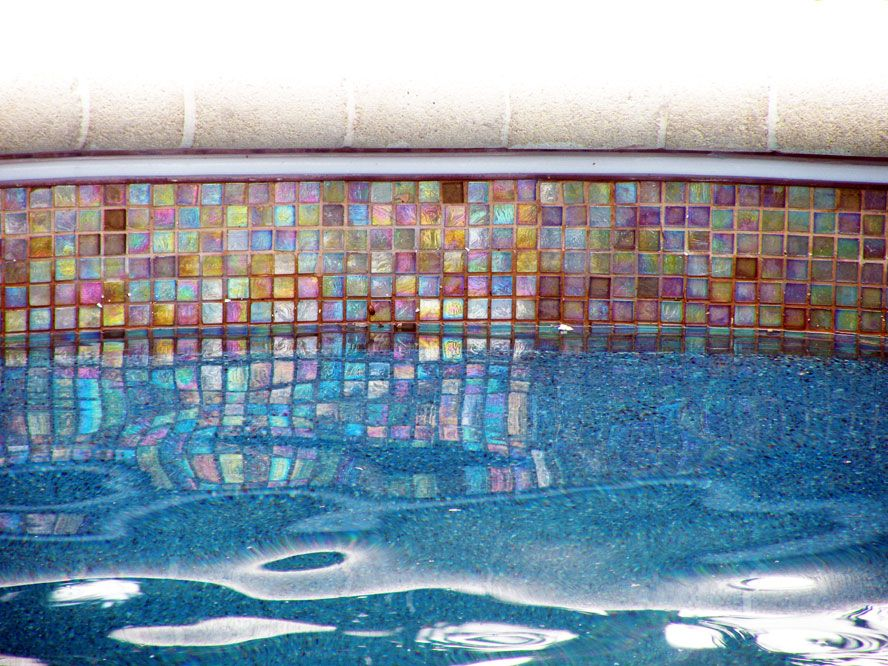 Water Line Pool Tile |   Glass Tiles Form The Waterline Tile For