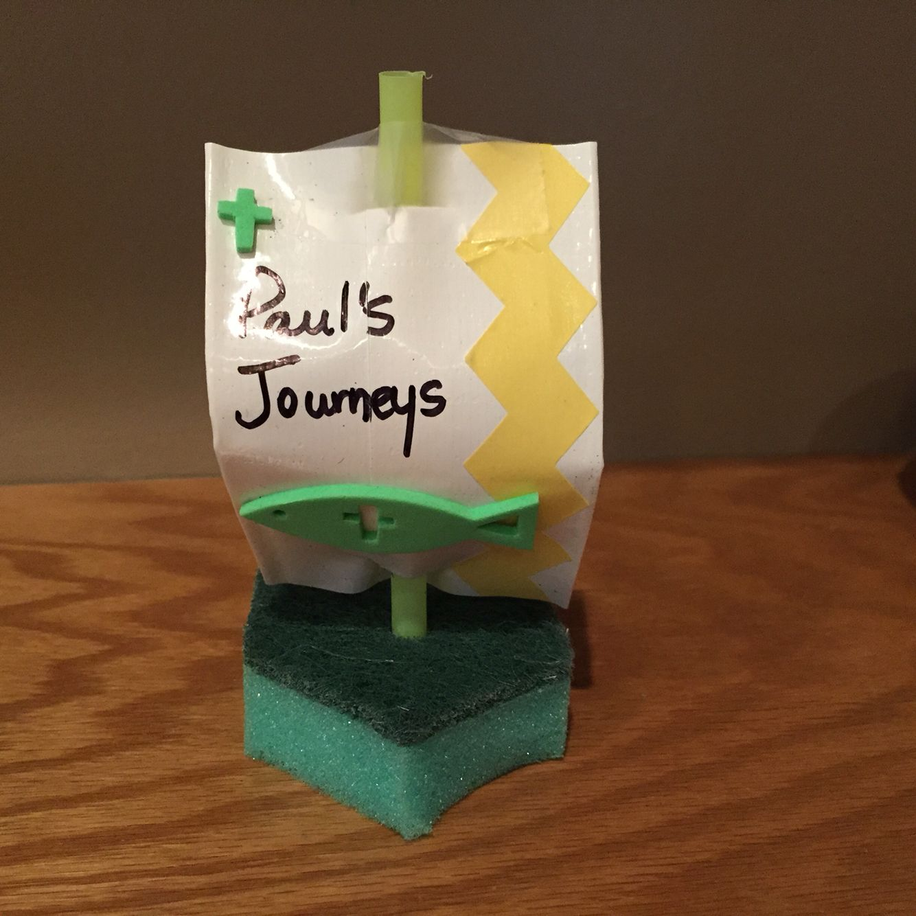 household sponge with duct tape sail and straw mast for pauls
