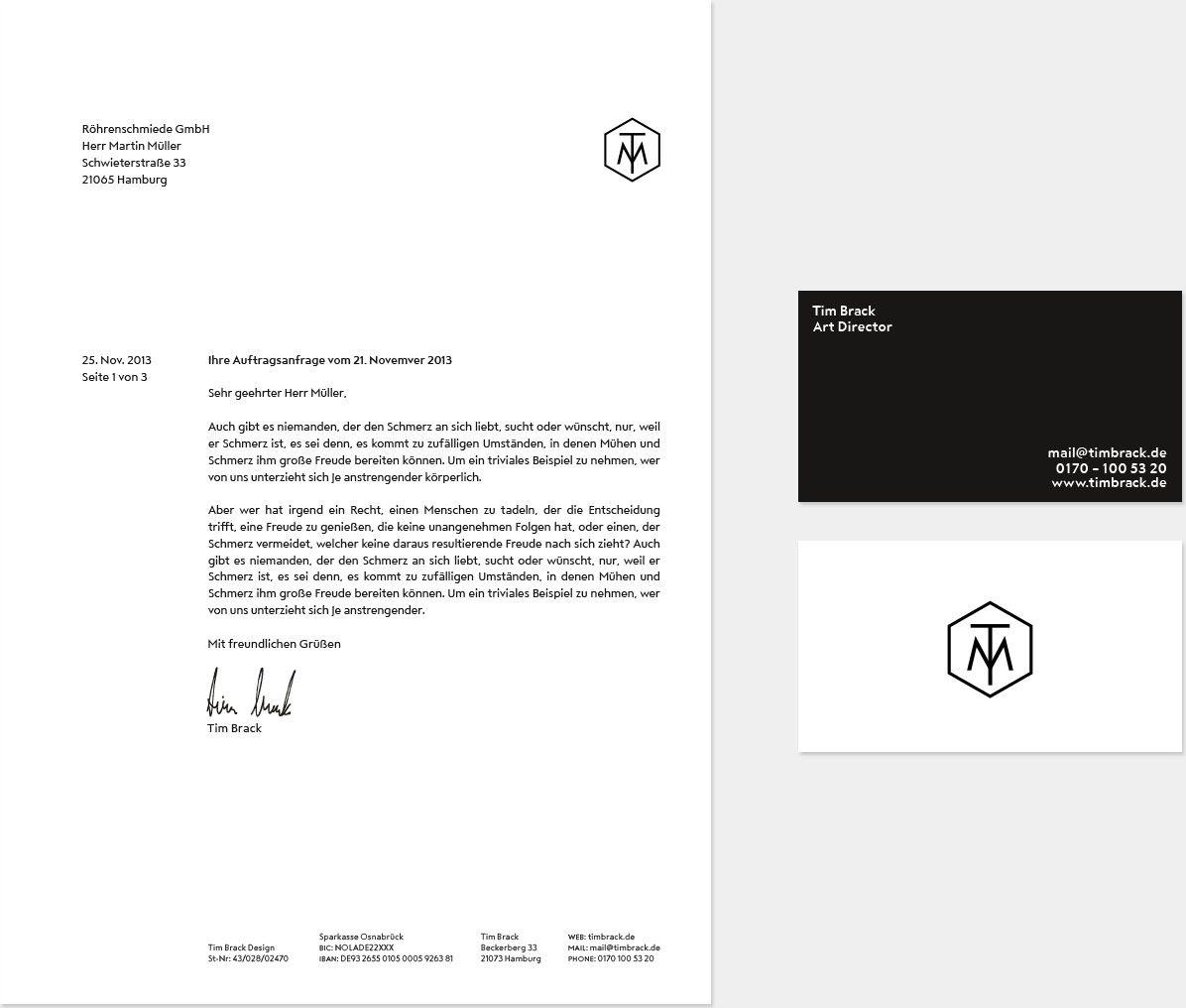 tim brack design briefbogen und visitenkarte corporate design pinterest. Black Bedroom Furniture Sets. Home Design Ideas