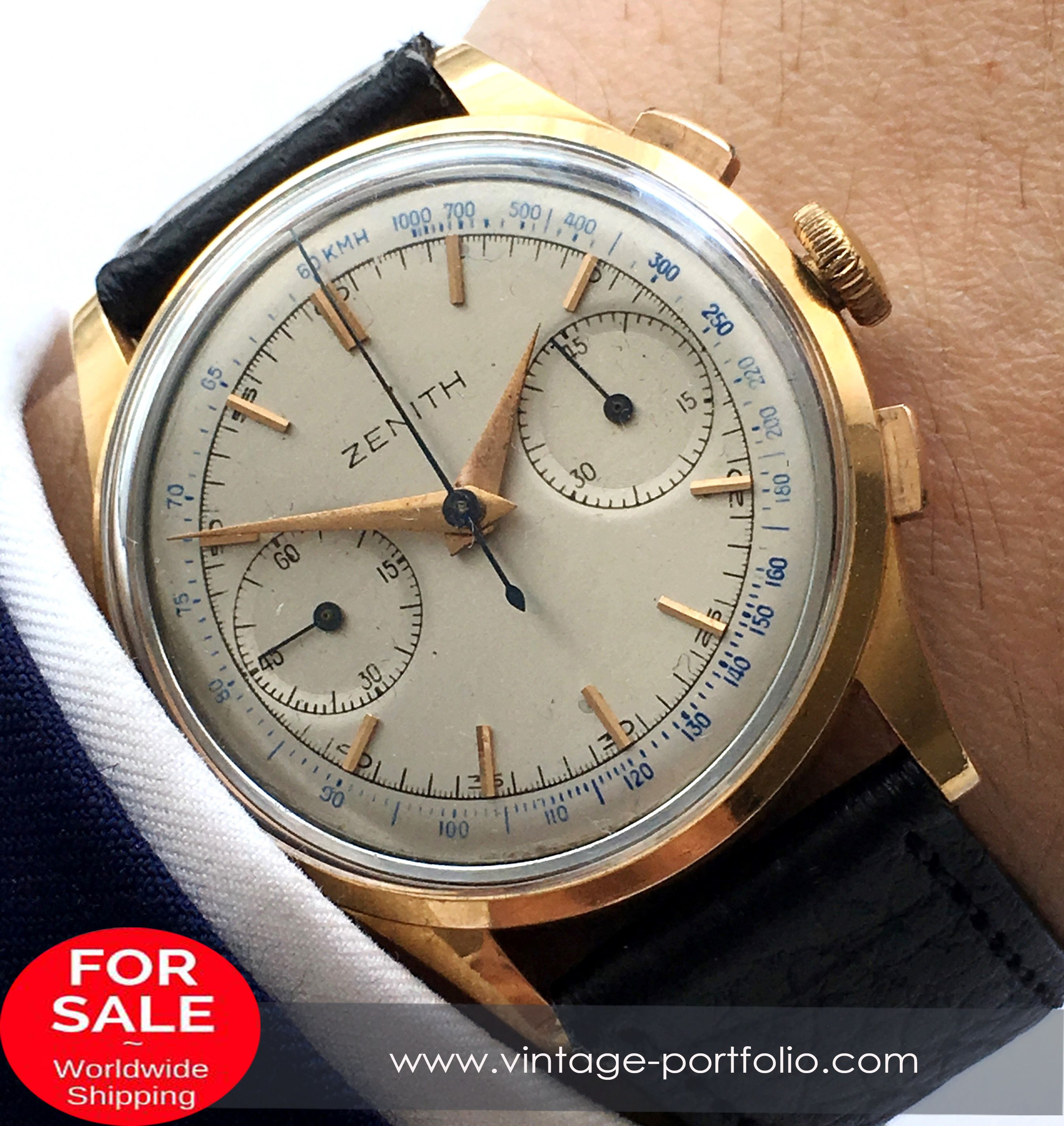 18kt Gold Zenith Vintage Chronograph 37mm Jumbo Luxury Watches