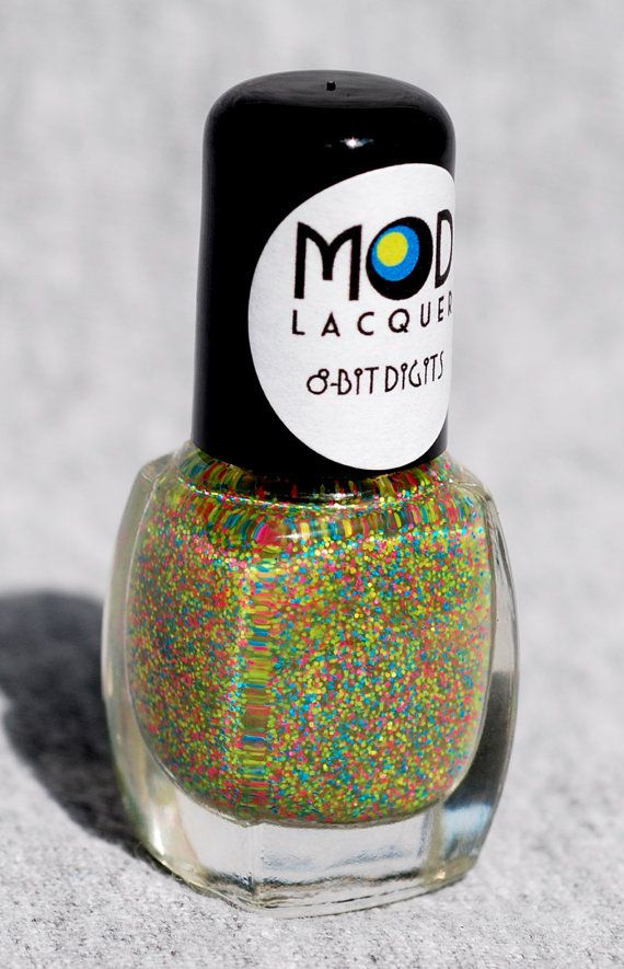 8Bit Digits  Fine Neon Glitter Nail Polish Mini 4ml by ModLacquer, $4.00