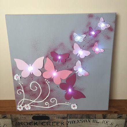 Toile Lumineuse Th¨me Envolée de papillon 40 x 40 cm fond gris