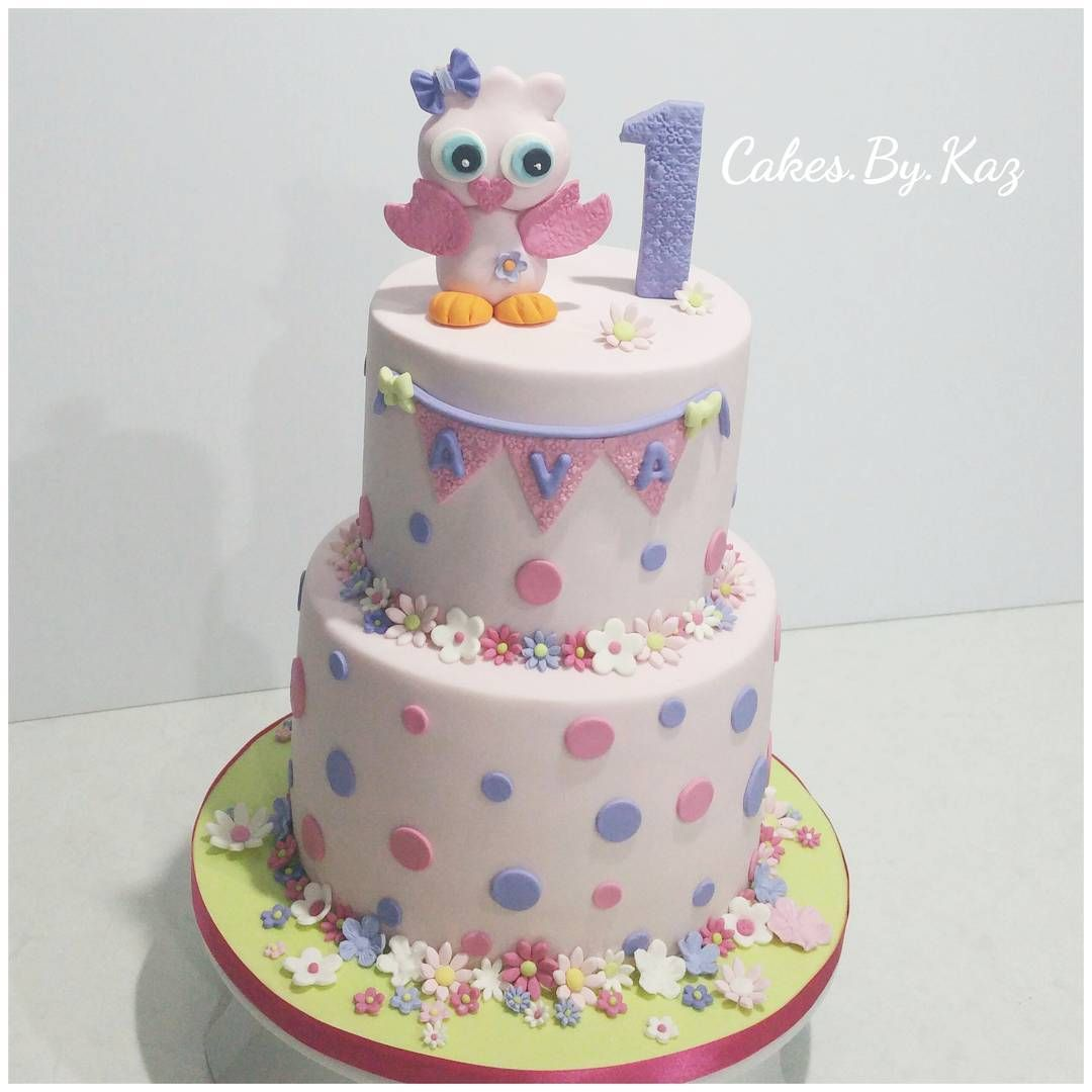2 tier Owl fondant cake for little Avas 1st birthday CakesByKaz