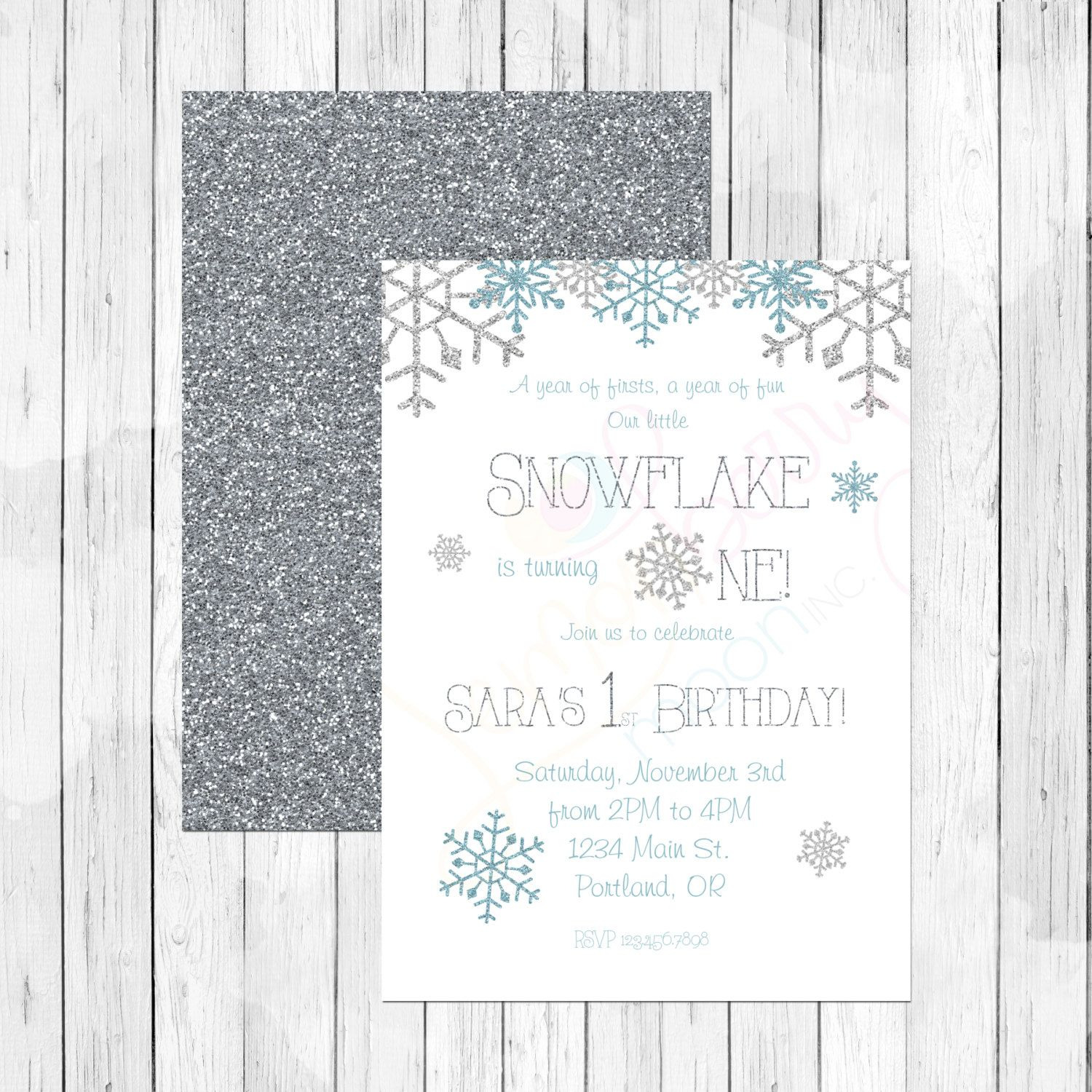 Our Little Snowflake First Birthday Invitation or Evite Frozen