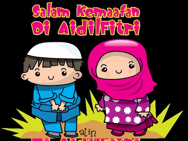 Alin S Cartoon Salam Kemaafan Raya Dah Dekat Yeeaaa Kartun Gambar Kartun Clip Art
