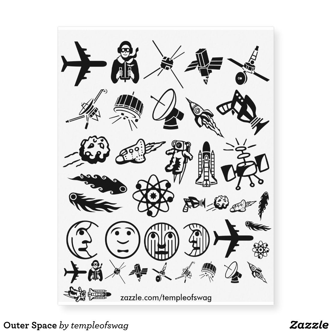 Outer Space Temporary Tattoos | Zazzle.com in 2020 | Outer ...