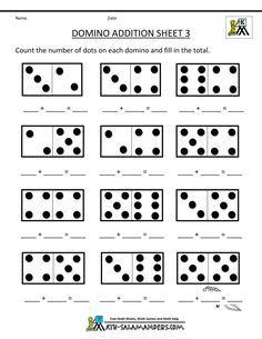 printable kindergarten math worksheets domino addition 3 | matek ...