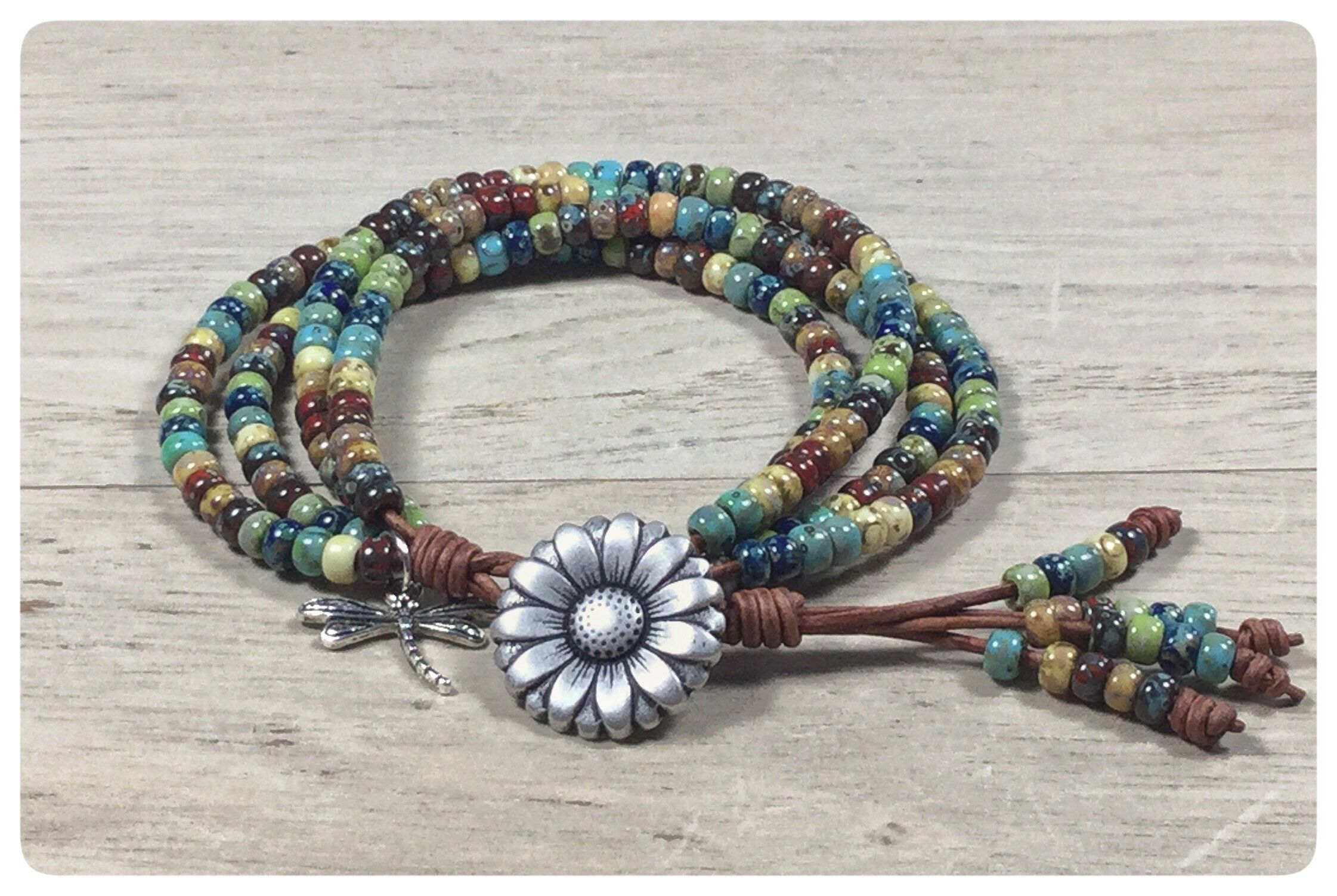 Beaded leather wrap bracelets for women colorful leather boho