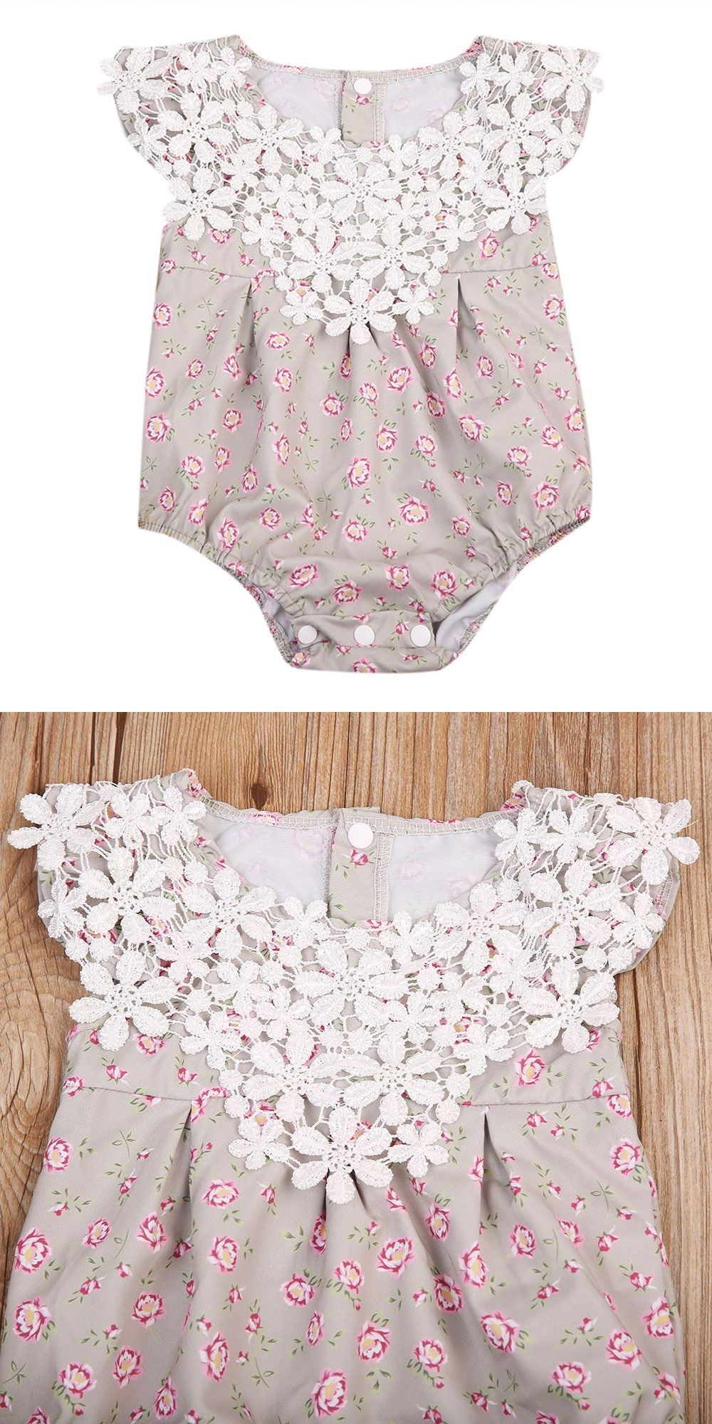 739fa1b8a6c New Infantil Baby Rompers Cute Newborn Baby Girls Flower Romper Sleeveless  Jumpsuit O-Neck Summer