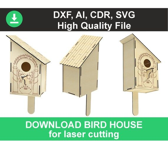 CorelDraw Vector file for laser cutting plywood Birdhouse #2 DXF CDR svg ai eps vector project for CNC router and laser cut