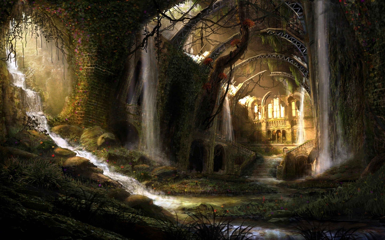 Fantasy landscape art artwork nature wallpaper 2880x1800
