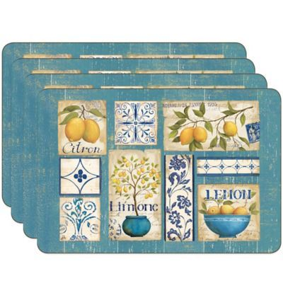 Jason Zest Of Yellow Hardboard Cork Backed Placemats Set Of 4 Placemats Yellow Placemats Hardboard Placemats