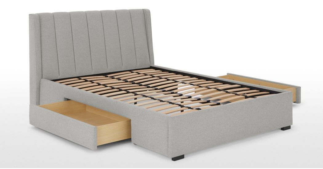 Bremen Double Bed With Drawer Storage Cool Grey Made Com
