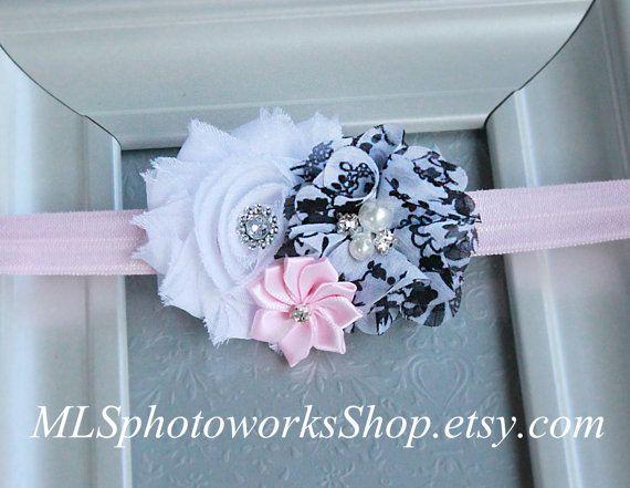White Powder Pink & Black Baby Girl Headband  by MLSPhotoWorksShop